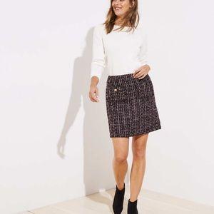 Loft Sherri tweed shift skirt purple multi color
